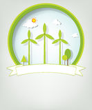 Emblem with green windmills Royalty Free Stock Image