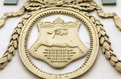 Emblem of Grodno. The emblem of the city of Grodno on the wall of an old building. Grodno, Belarus stock image