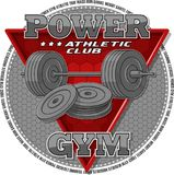 Emblem of the gym. Sports equipment on the background of a red triangle. Background, text and equipments are located on separate layers and can be easily Stock Photos