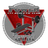 Emblem of the gym. Sports equipment on the background of a red triangle. Background, text and equipments are located on separate layers and can be easily Royalty Free Stock Photos