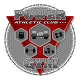 Emblem of the gym. Sports equipment on the background of a red triangle. Background, text and equipments are located on separate layers and can be easily Royalty Free Stock Photography