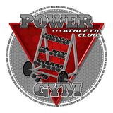 Emblem of the gym. Sports equipment on the background of a red triangle. Background, text and equipments are located on separate layers and can be easily Royalty Free Stock Photo