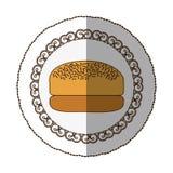 emblem hamburger bread icon Royalty Free Stock Photo