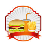 emblem with hamburger, soda and fries french and ribbon Royalty Free Stock Photos