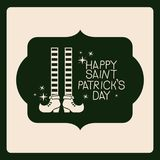 Emblem happy saint patricks day with legs of leprechaun with striped socks in green color silhouette Stock Photos