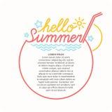 Emblem Hello summer. Linear conceptual emblem Hello summer. Vector illustration Royalty Free Stock Image