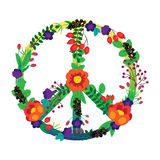 The emblem of the hippie flowers on a white Stock Image