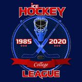 Emblem of the hockey league on a blue background with a red ribbon. Background and text are located on separate layers and can be easily disabled Royalty Free Stock Images
