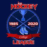 Emblem of the hockey league on a blue background with a red ribbon. Background and text are located on separate layers and can be easily disabled Royalty Free Stock Photo