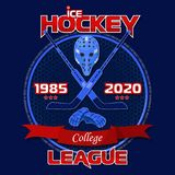 Emblem of the hockey league on a blue background with a red ribbon. Background and text are located on separate layers and can be easily disabled Stock Image