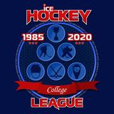Emblem of the hockey league on a blue background with a red ribbon. Background and text are located on separate layers and can be easily disabled Royalty Free Stock Image