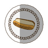 Emblem hot dog bread icon Stock Photo
