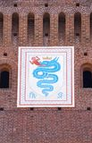 Emblem of the House of Visconti. Milan, Italy, Europe: the biscione, an azure serpent in the act of consuming a human, the emblem of the House of Visconti and royalty free stock images