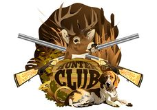The emblem of the hunting club with the head of a deer, a dog and guns. royalty free stock photos