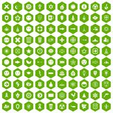 100 emblem icons hexagon green. 100 emblem icons set in green hexagon isolated vector illustration Stock Photography