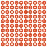 100 emblem icons hexagon orange. 100 emblem icons set in orange hexagon isolated vector illustration Stock Photos