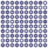 100 emblem icons hexagon purple. 100 emblem icons set in purple hexagon isolated vector illustration Royalty Free Stock Photo