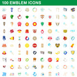 100 emblem icons set, cartoon style. 100 emblem icons set in cartoon style for any design vector illustration Stock Photo