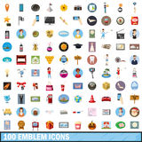 100 emblem icons set, cartoon style. 100 emblemicons set in cartoon style for any design vector illustration Royalty Free Stock Image