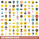 100 emblem icons set, flat style. 100 emblem icons set in flat style for any design vector illustration stock illustration