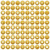 100 emblem icons set gold. 100 emblem icons set in gold circle isolated on white vectr illustration Vector Illustration