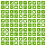 100 emblem icons set grunge green. 100 emblem icons set in grunge style green color isolated on white background vector illustration Royalty Free Illustration