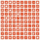 100 emblem icons set grunge orange. 100 emblem icons set in grunge style orange color isolated on white background vector illustration Royalty Free Stock Images