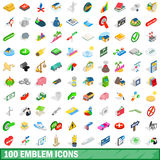 100 emblem icons set, isometric 3d style. 100 emblem icons set in isometric 3d style for any design vector illustration stock illustration