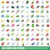 100 emblem icons set, isometric 3d style. 100 emblem icons set in isometric 3d style for any design vector illustration Stock Photos