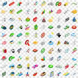 100 emblem icons set, isometric 3d style. 100 emblem icons set in isometric 3d style for any design vector illustration Stock Images