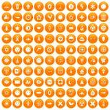 100 emblem icons set orange Royalty Free Stock Photos
