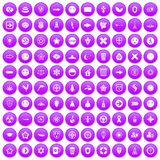 100 emblem icons set purple. 100 emblem icons set in purple circle isolated vector illustration vector illustration