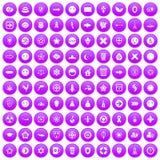 100 emblem icons set purple. 100 emblem icons set in purple circle isolated vector illustration Vector Illustration