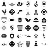 Emblem icons set, simple style Stock Images