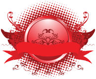 Emblem illustration. Red emblem, design element, illustration Stock Image