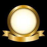 Emblem. Illustration of a gold circle with ribbon emblem Stock Photo