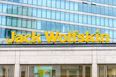 The emblem of Jack Wolfskin Stock Photo