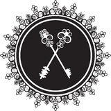 Emblem with keys. Silhouette of a vintage emblem with keys Stock Photo