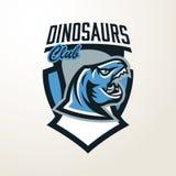 Emblem klistermärke, emblem, dinosauriehuvudlogo Rovdjurs- Jurassic, ett farligt fä, ett slocknat djur, en maskot, en käke och royaltyfri illustrationer