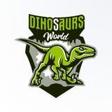 Emblem emblem, klistermärke, dinosaurielogo på jakten Rovdjurs- Jurassic, ett farligt fä, ett slocknat djur, en maskot royaltyfri illustrationer
