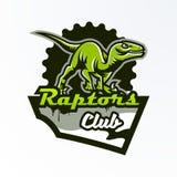 Emblem emblem, klistermärke, dinosaurielogo på jakten Rovdjurs- Jurassic, ett farligt fä, ett slocknat djur, en maskot vektor illustrationer