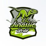 Emblem emblem, klistermärke, dinosaurielogo på jakten Rovdjurs- Jurassic, ett farligt fä, ett slocknat djur, en maskot stock illustrationer