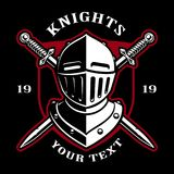 Emblem of knight helmet with swords. Emblem of knight helmet with swords on dark background. Logo design. text is on the separate layer Royalty Free Stock Photos