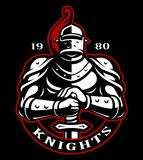 Emblem of knight with sword. On dark background. Logo design. Text is on the separate layer Royalty Free Stock Images
