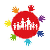 The emblem of the large family. The large family on a background of a red circle, surrounded by multicolored childrens palms. The emblem or logo of the large Royalty Free Stock Images