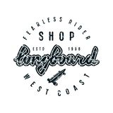 Emblem with lettering for longboard shop Stock Photos
