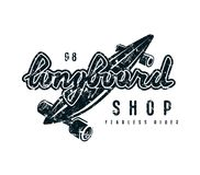 Emblem with lettering for longboard shop Stock Images
