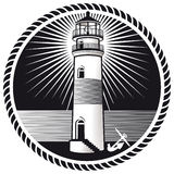 Lighthouse emblem. An emblem with a lighthouse and a boat anchor Royalty Free Stock Photography