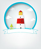 Emblem with lighthouse Stock Images
