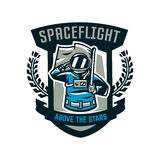 Emblem, logo, an astronaut salutes and holds a flag. Flight to the moon, space, intergalactic journey, universe, shield Royalty Free Stock Photos